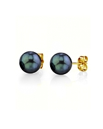 6.0-6.5mm Black Akoya Pearl Stud Earrings - Model Image