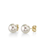 5.5-6.0mm White Akoya Pearl Stud Earrings - Model Image
