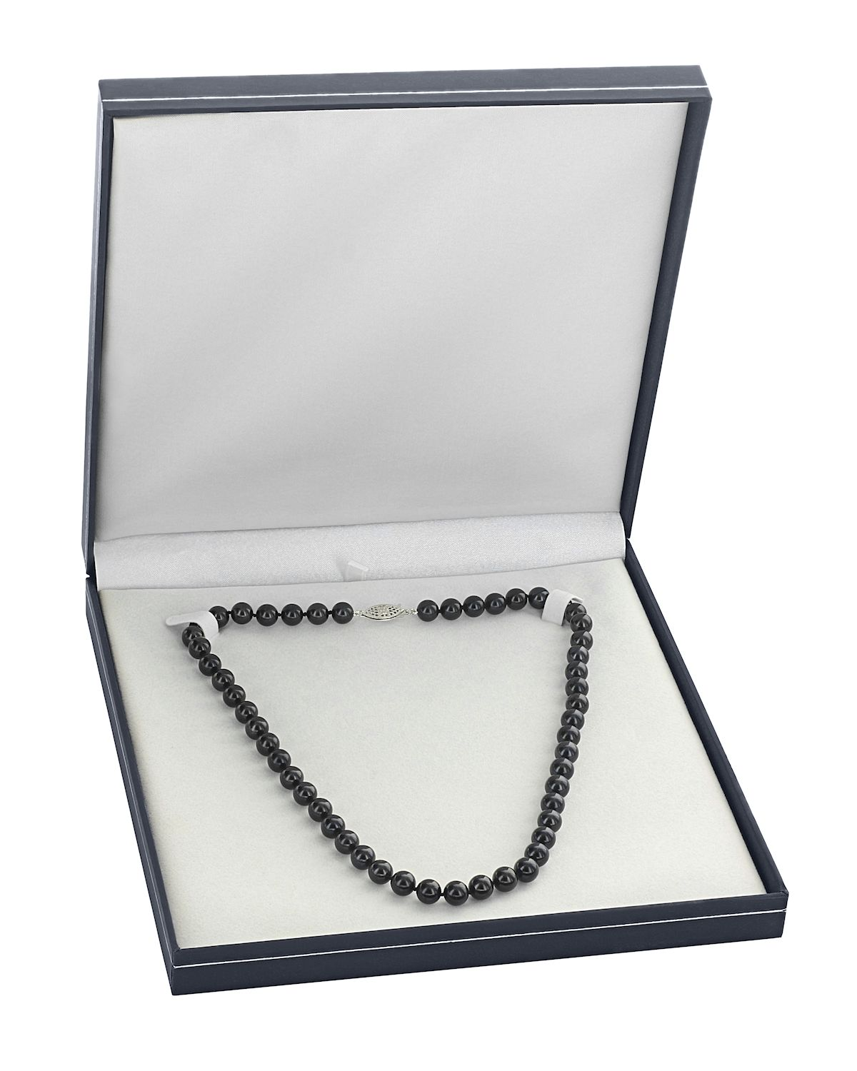 5.0-5.5mm Japanese Akoya Black Pearl Necklace - AAA Quality - Third Image