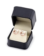 11mm Peach Freshwater Pearl Stud Earrings - Third Image