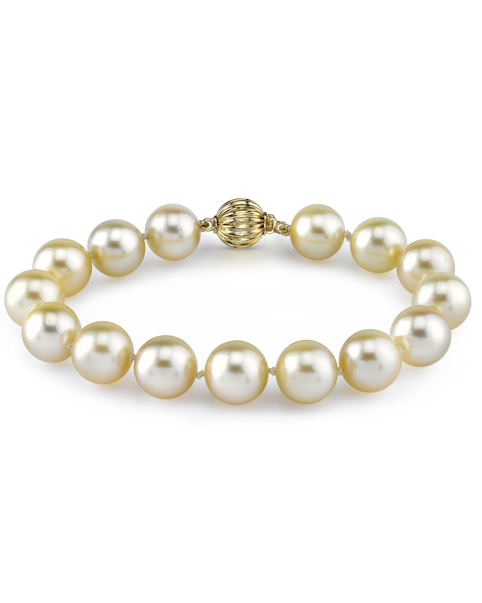 9-10mm Champagne Golden South Sea Pearl Bracelet