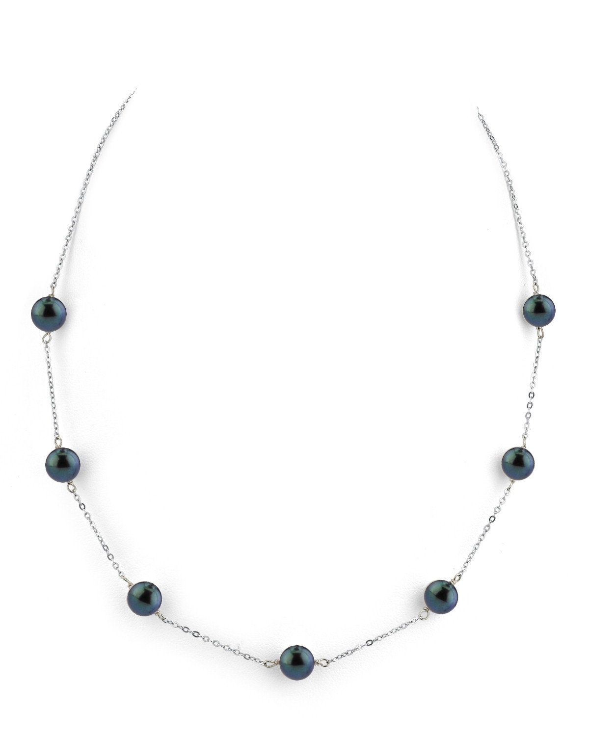 Japanese Akoya Black Pearl Tincup Necklace