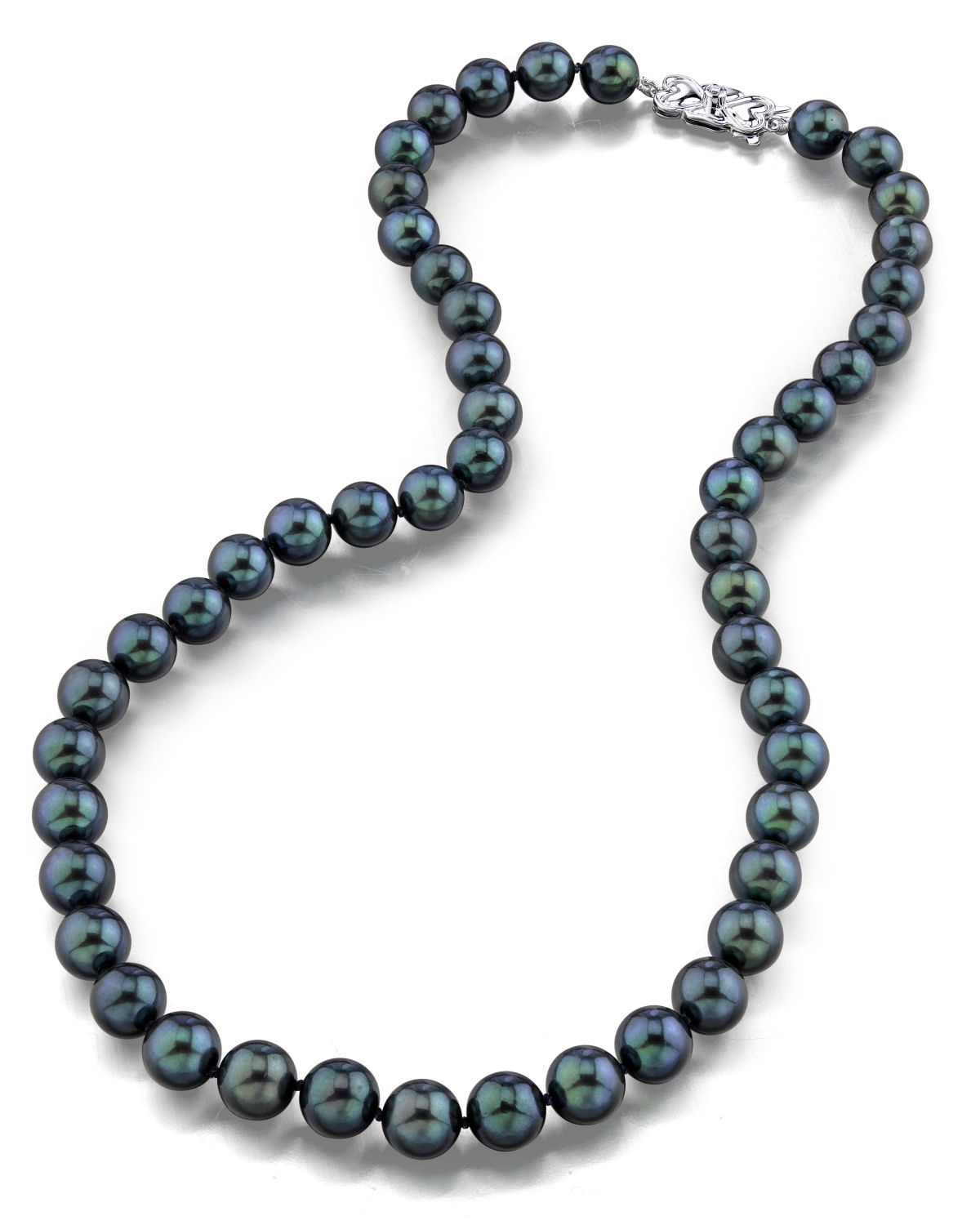 8.0-8.5mm Japanese Akoya Black Pearl Necklace- AA+ Quality