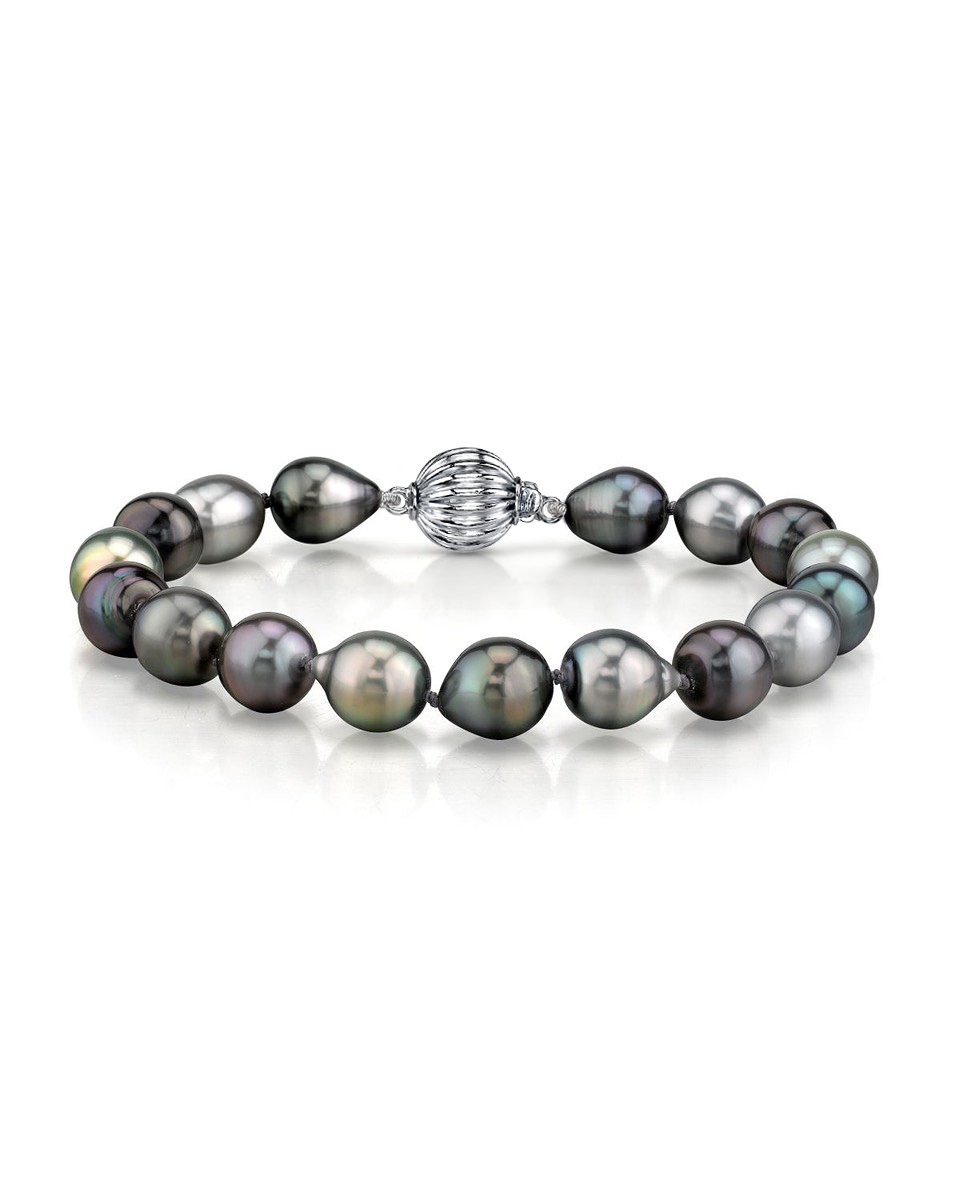 9-10mm Tahitian South Sea Multicolor Drop-Shape Pearl Bracelet