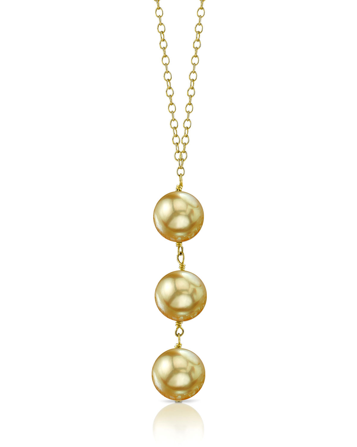 Golden South Sea Pearl Triple Drop Pearl Pendant