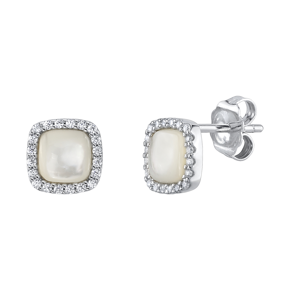 White Mother of Pearl & Cubic Zirconia Eloise Earrings