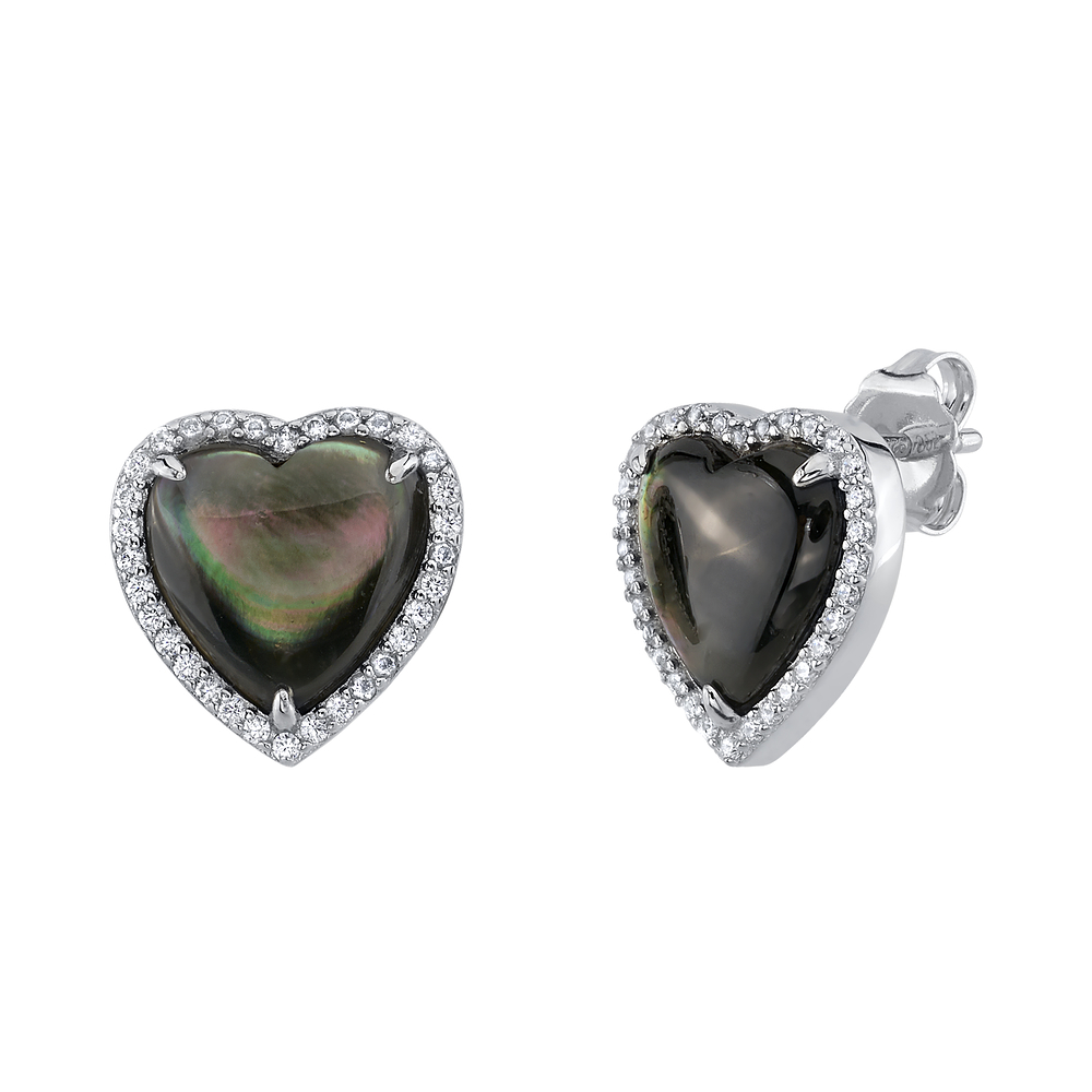 Black Mother of Pearl Heart-Shaped Ophelia Earrings