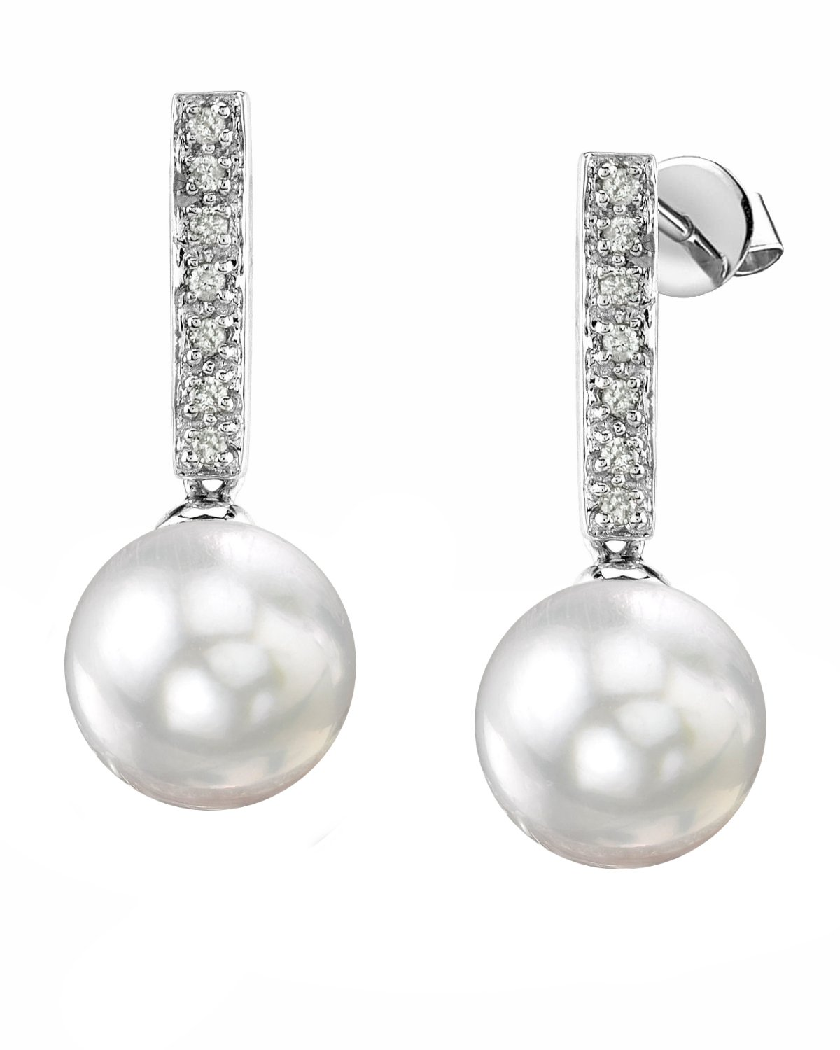 South Sea Pearl Dangling Diamond Earrings