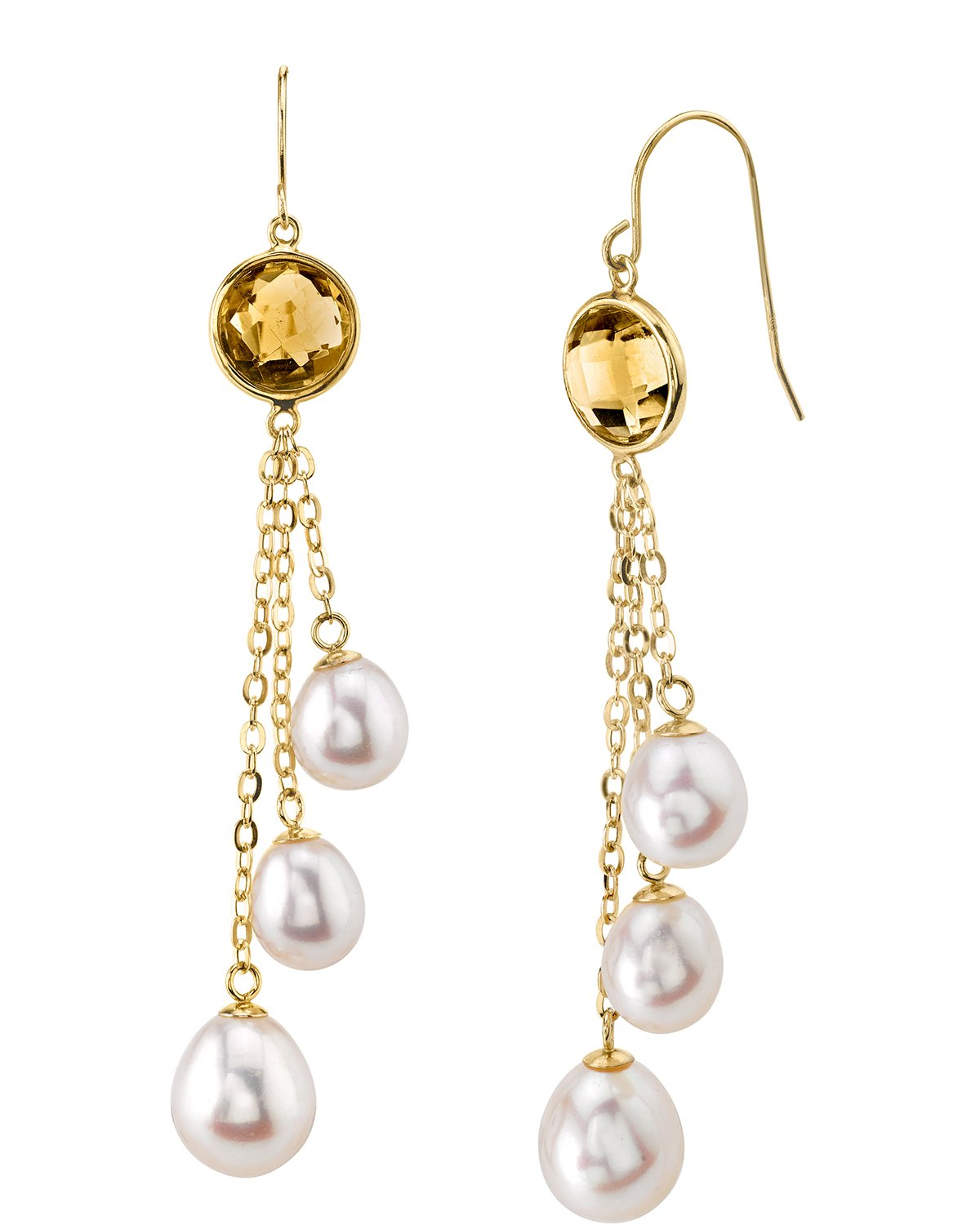 14K Gold Triple Freshwater Pearl & Citrine Aliyah Earrings