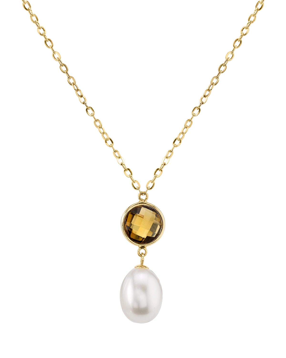 14K Gold Drop-Shape Freshwater Cultured Pearl & Quartz Savanah Pendant