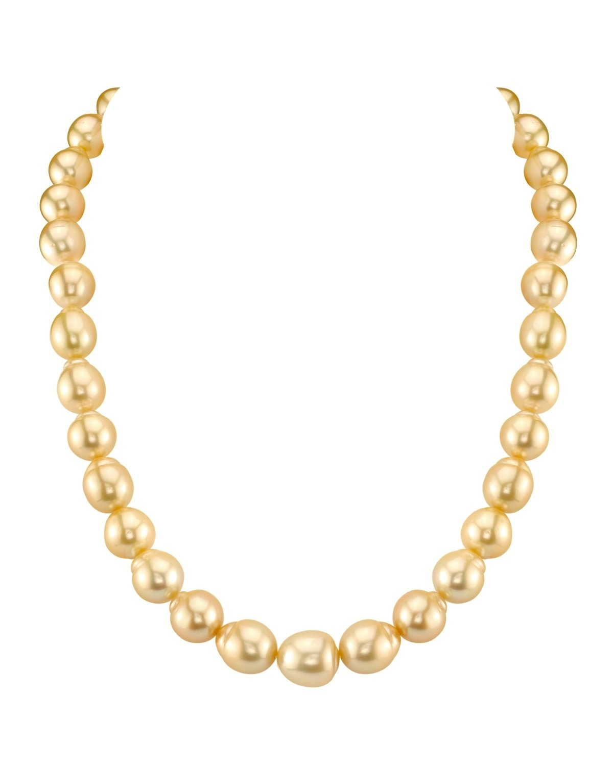 10-12mm Baroque Shaped Golden South Sea Pearl Necklace