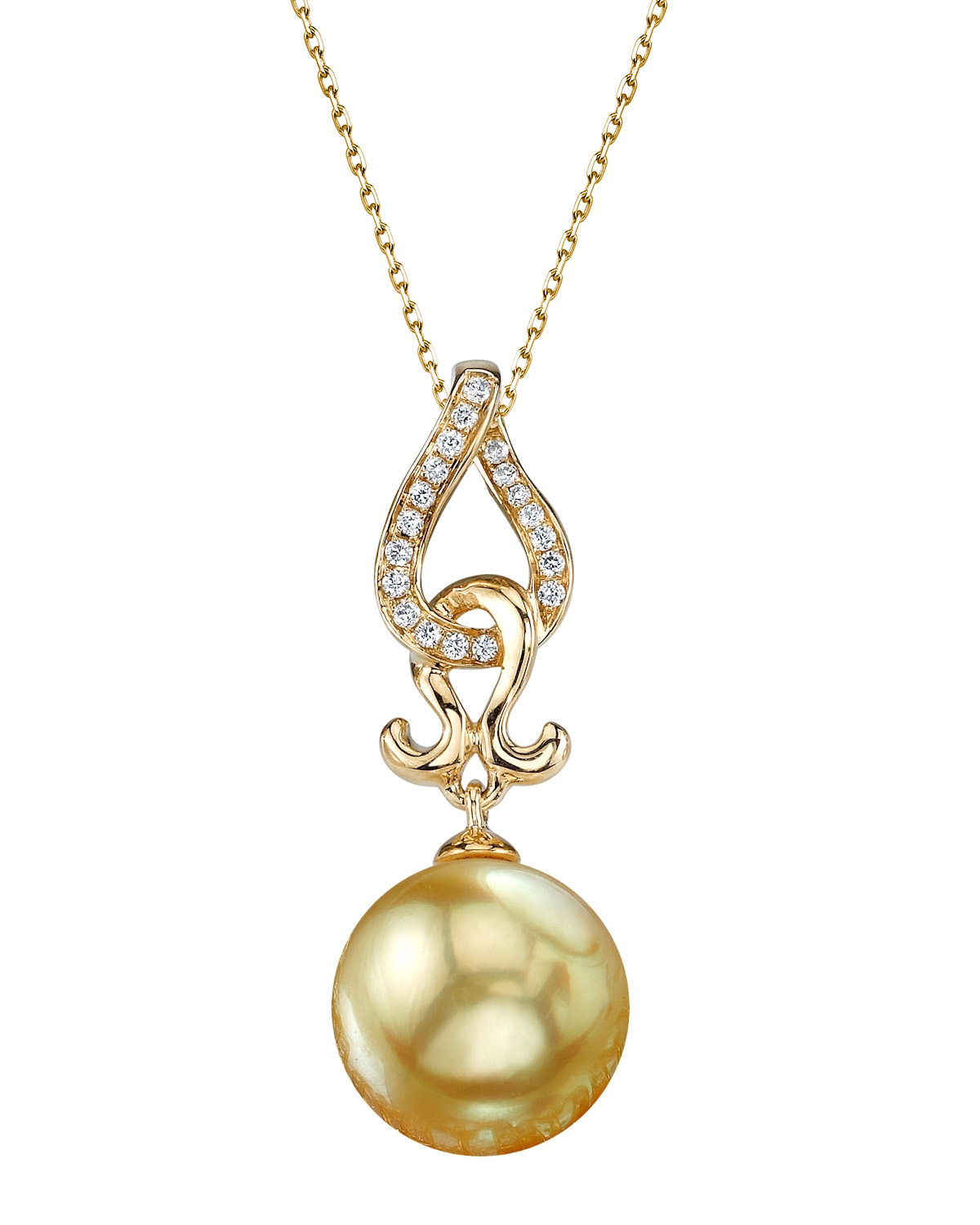 Golden Pearl & Diamond Judy Pendant