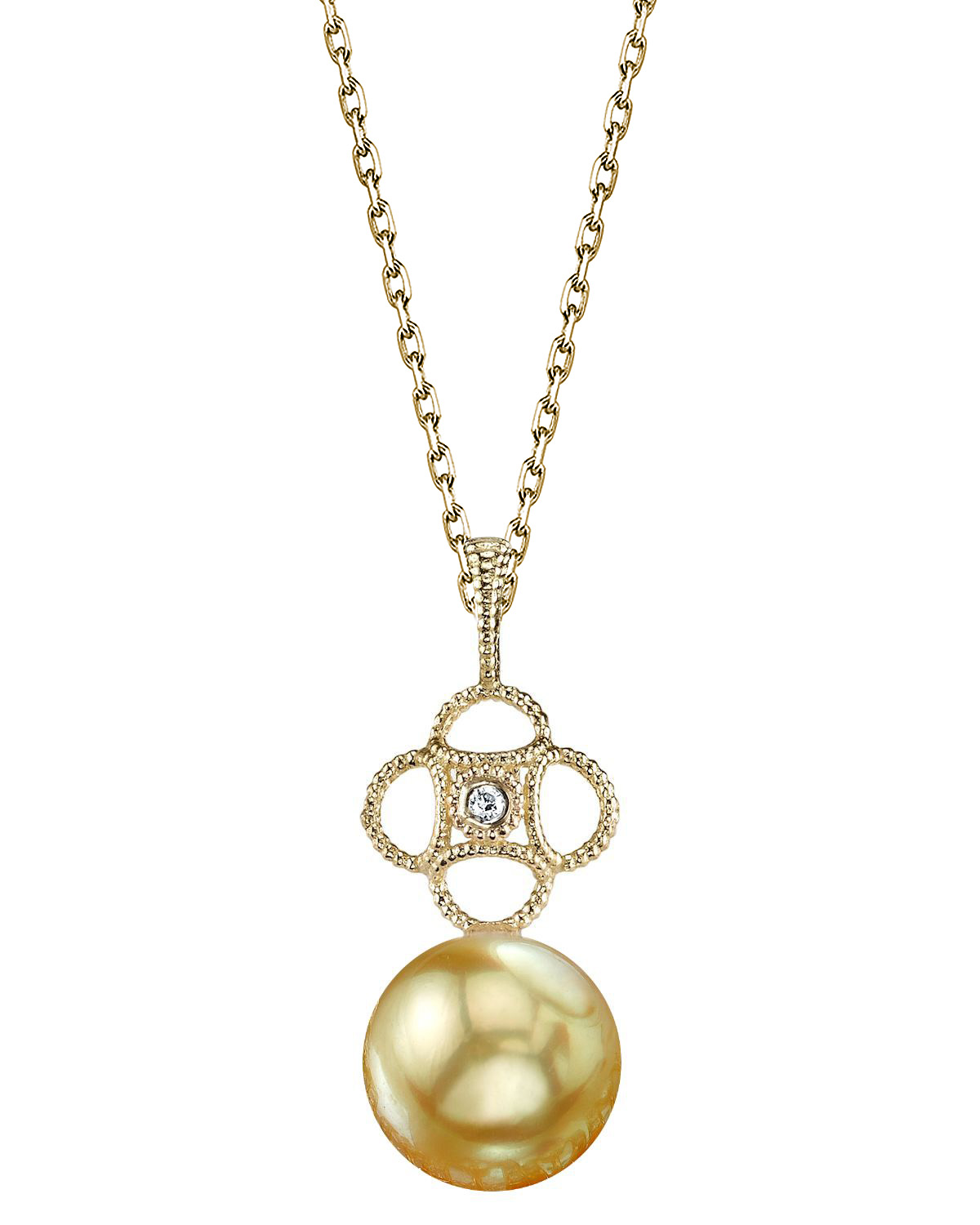 Golden South Sea Pearl & Diamond Lacy Pendant