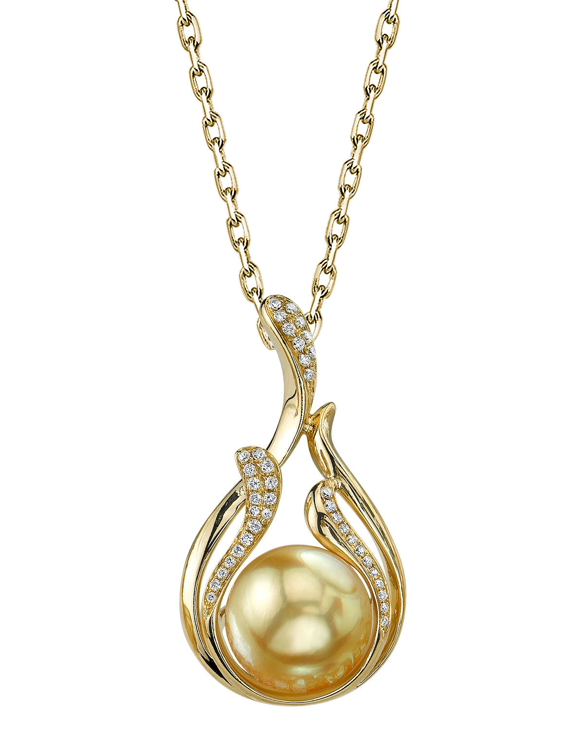 Golden South Sea Pearl & Diamond Layla Pendant
