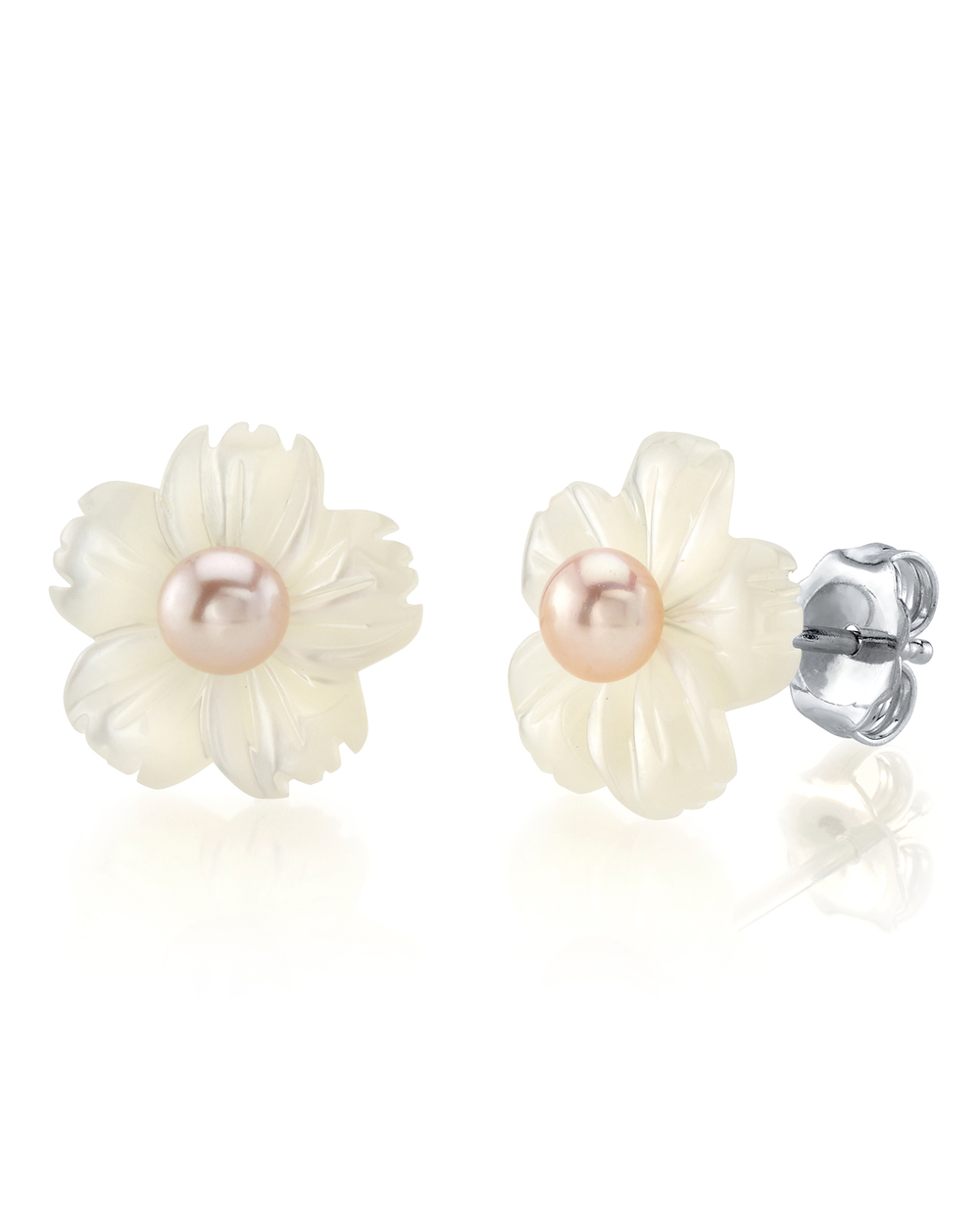 Pink Freshwater Button-Shape Cultured Pearl on Mother of Pearl Flower Lotus Earrings
