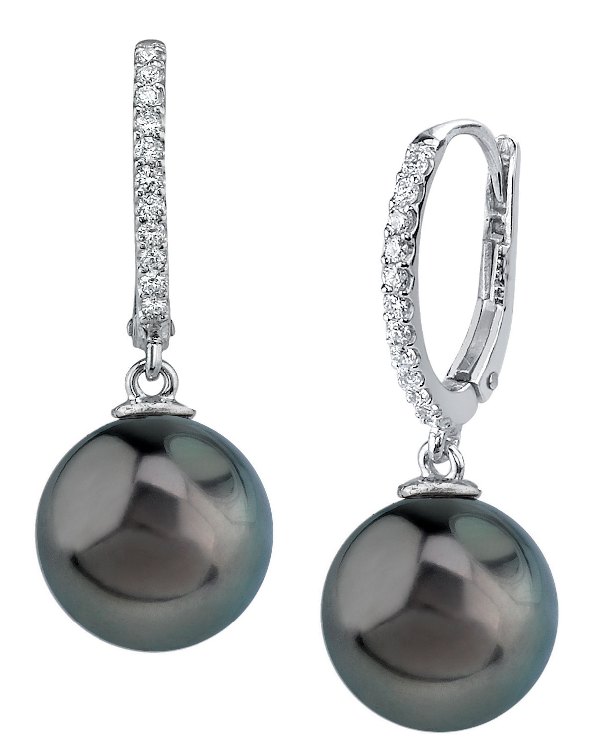 Tahitian South Sea Pearl & Diamond Aurora Leverback Earrings